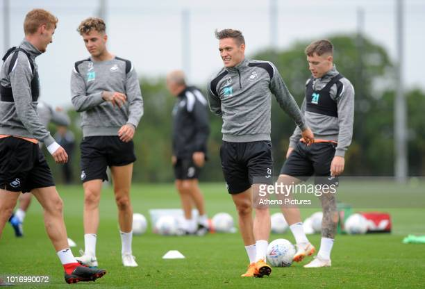 Swansea City's Connor Roberts in action during the Swansea City Training at The Fairwood Training Ground on August 14 2018 in Swansea Wales
