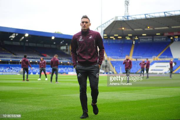 Swansea City's Connor Roberts walks the pitch prior to the Sky Bet Championship match between Birmingham City and Swansea City at St Andrew's...