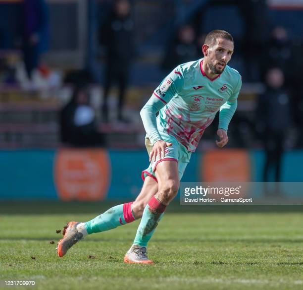Swansea City's Conor Hourihane during the Sky Bet Championship match between Luton Town and Swansea City at Kenilworth Road on March 13, 2021 in...