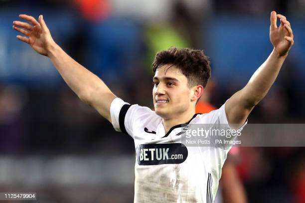Swansea City's Daniel James celebrates after George Byers scores his side's fourth goal of the game during the FA Cup fifth round match at the...
