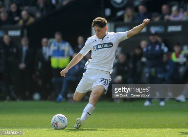 Swansea City's Daniel James has a shot at goal during the Sky Bet Championship match between Swansea City and Middlesbrough at Liberty Stadium on...