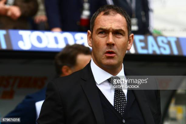 Swansea City's English head coach Paul Clement arrives for the English Premier League football match between Swansea City and Everton at The Liberty...