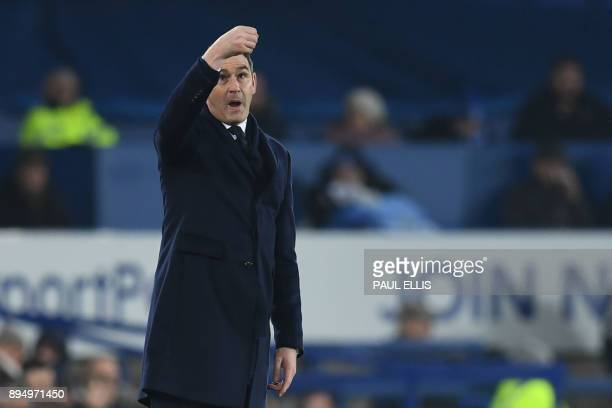 Swansea City's English head coach Paul Clement gestures during the English Premier League football match between Everton and Swansea City at Goodison...