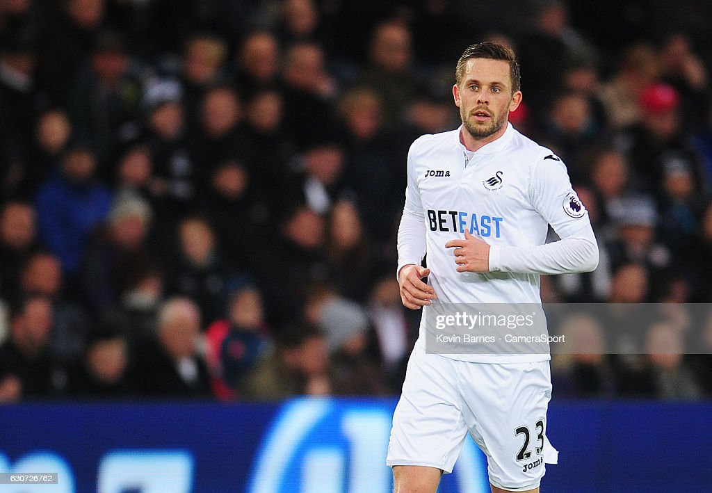 Swansea City's Gylfi Sigurdsson during the Premier League match between Swansea City and AFC Bournemouth at Liberty Stadium on December 31, 2016 in Swansea, Wales.