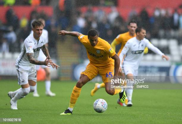 Swansea City's Joe Rodon and Preston North End's Lukas Nmecha battle for the ball Swansea City v Preston North End Sky Bet Championship Liberty...