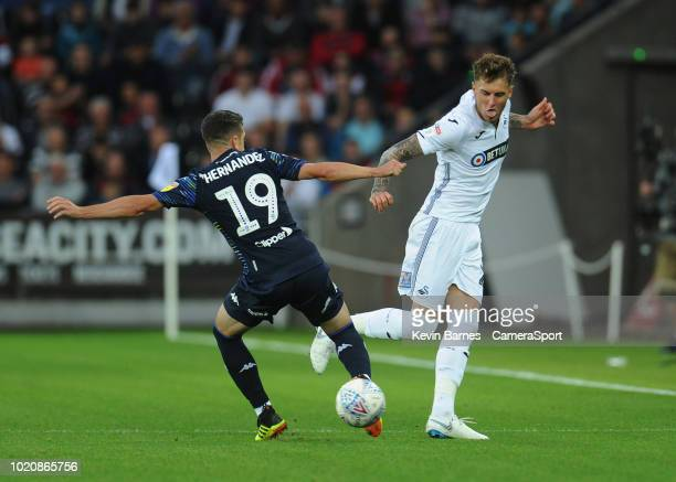 Bersant Celina of Swansea City takes a shot off target during the Sky Bet Championship match between Swansea City and Leeds United at the Liberty...