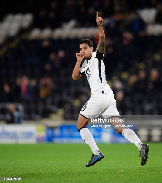 Swansea City's Kyle Naughton celebrates scoring his side's second goal during the Sky Bet Championship match between Hull City and Swansea City at...