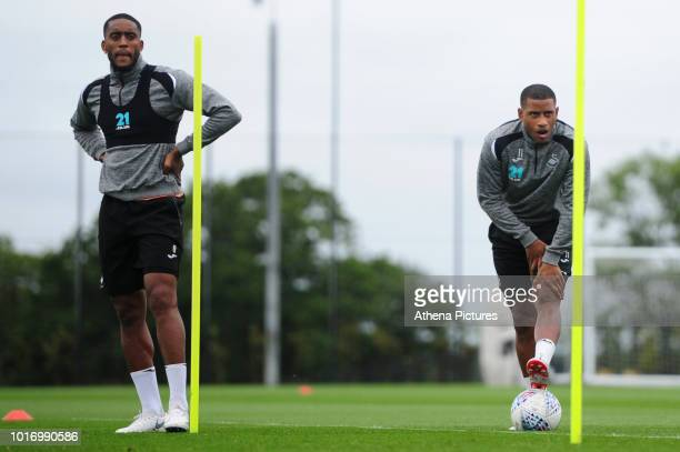 Swansea City's Leroy Fer and Luciano Narsingh in action during the Swansea City Training at The Fairwood Training Ground on August 14 2018 in Swansea...