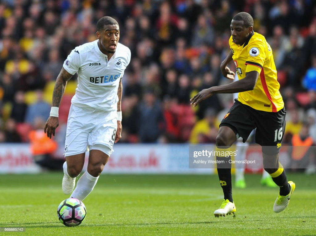 Swansea City's Leroy Fer in action during the Premier League match between Watford and Swansea City at Vicarage Road on April 15, 2017 in Watford, England.