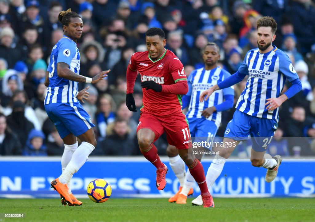Swansea City's Luciano Narsingh during the Premier League match between Brighton and Hove Albion and Swansea City at Amex Stadium on February 24, 2018 in Brighton, England.
