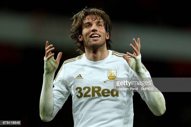 Swansea City's Miguel Michu celebrates scoring his sides first goal
