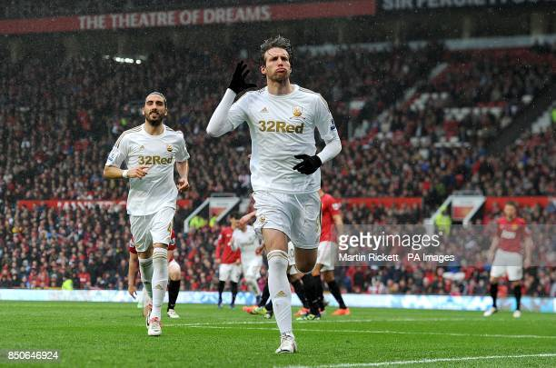Swansea City's Miguel Michu celebrates scoring their first goal of the game