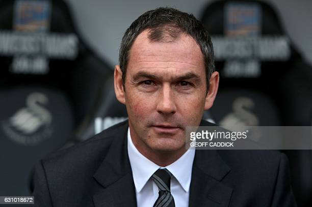 Swansea City's newly appointed English head coach Paul Clement poses for a photograph at the Liberty Stadium in Swansea south Wales on January 5 2017...