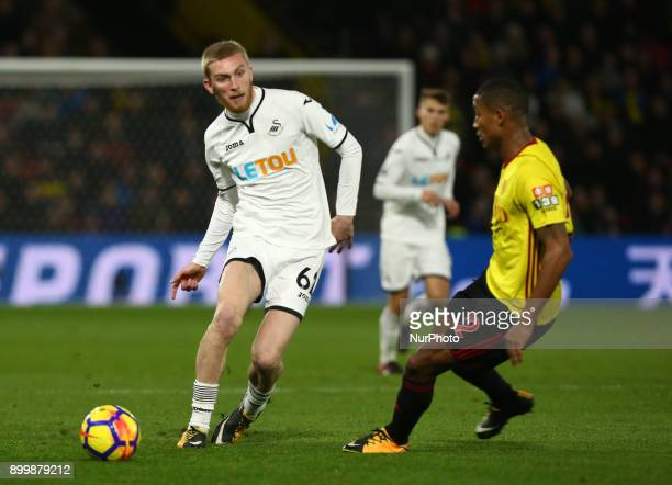 Swansea City's Oliver McBurnie during Premier League match between Watford and Swansea City at Vicarage Road Stadium Watford England 30 Dec 2017