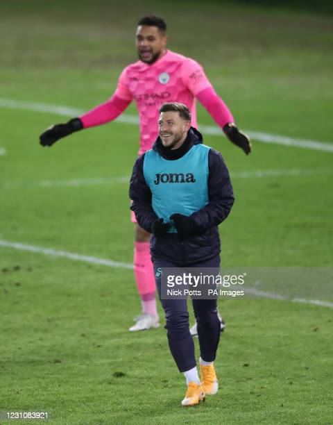 Swansea City's Paul Arriola after greeting compatriot Manchester City goalkeeper Zack Steffen during the Emirates FA Cup fifth round match at Liberty...