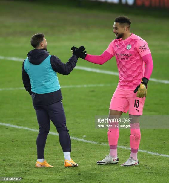 Swansea City's Paul Arriola greets compatriot Manchester City goalkeeper Zack Steffen during the Emirates FA Cup fifth round match at Liberty...