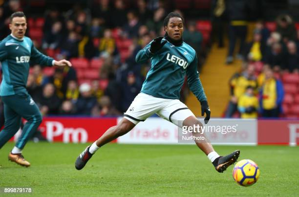 Swansea City's Renato Sanches during the prematch warmup during Premier League match between Watford and Swansea City at Vicarage Road Stadium...