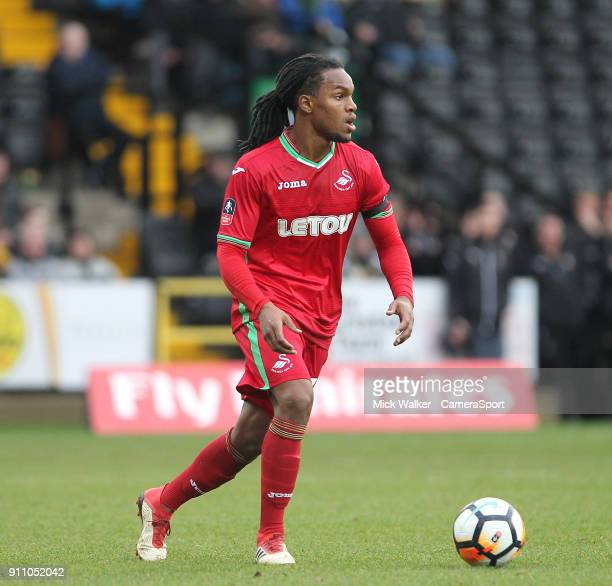 Swansea City's Renato Sanches during the The Emirates FA Cup Fourth Round match between Notts County and Swansea City at Meadow Lane on January 27...