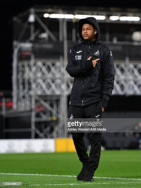 Swansea City's Rhian Brewster during the prematch warmup before the Sky Bet Championship match between Fulham and Swansea City at Craven Cottage on...