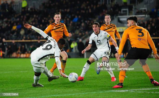 Swansea City's Rhian Brewster scores his side's fourth goal during the Sky Bet Championship match between Hull City and Swansea City at KCOM Stadium...