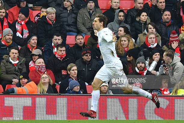 Swansea City's Spanish striker Fernando Llorente celebrates scoring a goal during the English Premier League football match between Liverpool and...