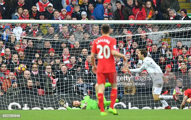 Swansea City's Spanish striker Fernando Llorente celebrates scoring their second goal during the English Premier League football match between...