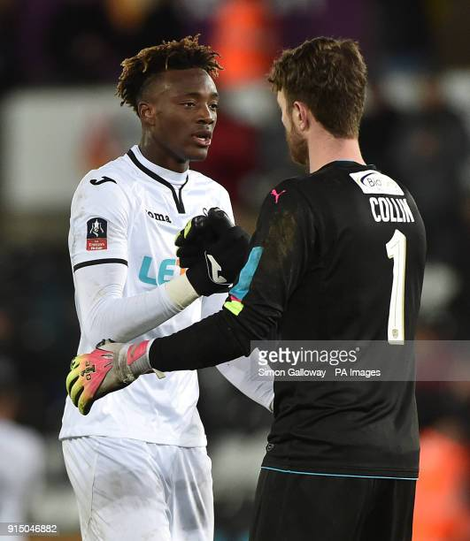 Swansea City's Tammy Abraham shakes hands with Notts County goalkeeper Adam Collin after the Emirates FA Cup fourth round replay match at the Liberty...