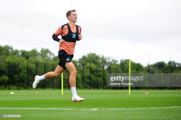 Swansea City's Tom Carroll in action during the Swansea City Training at The Fairwood Training Ground on August 14 2018 in Swansea Wales