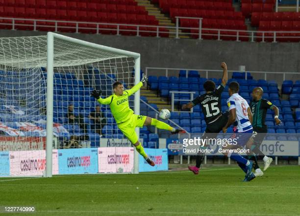 Swansea City's Wayne Routledge scores his side's fourth goal and that puts Swansea City into the play-offs during the Sky Bet Championship match...