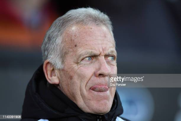 Swansea coach Alan Curtis looks on the Sky Bet Championship at Liberty Stadium on April 02, 2019 in Swansea, Wales.