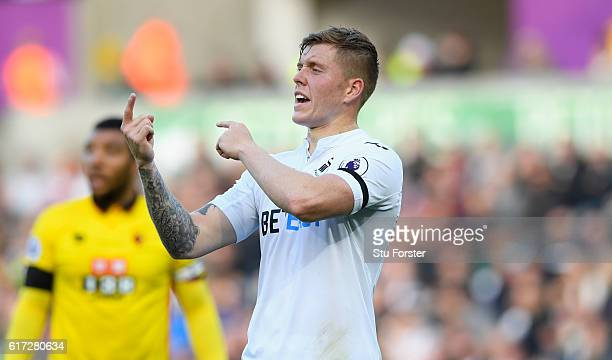 Swansea defender Alfie Mawson reacts during his Premier League debut during the Premier League match between Swansea City and Watford at Liberty...