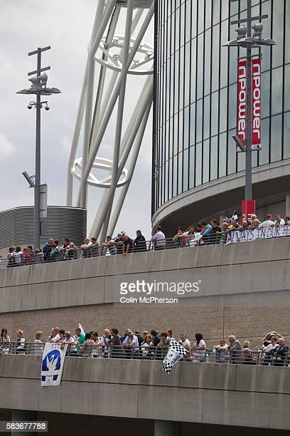 Swansea fans gathering on the walk ways surrounding the stadium before the Npower Championship playoff final between Reading and Swansea City at...