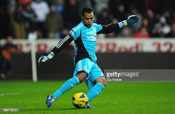 Swansea goalkeeper Michel Vorm in action during the Barclays Premier League match between Swansea City and Stoke City at Liberty Stadium on January...