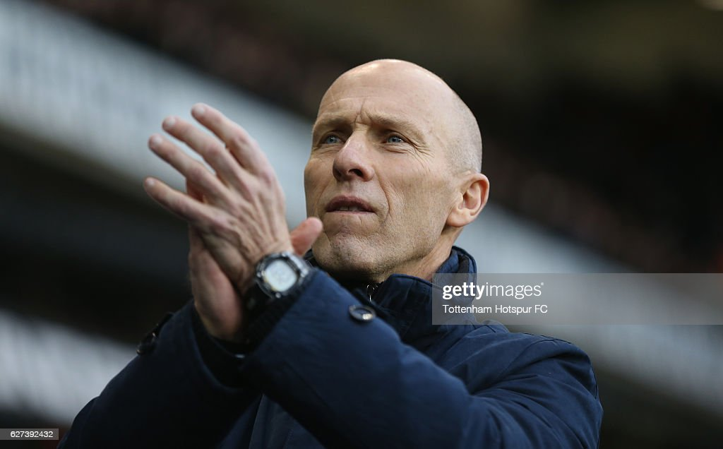 Swansea manager Bob Bradley during the Premier League match between Tottenham Hotspur and Swansea City at White Hart Lane on December 3, 2016 in London, England.