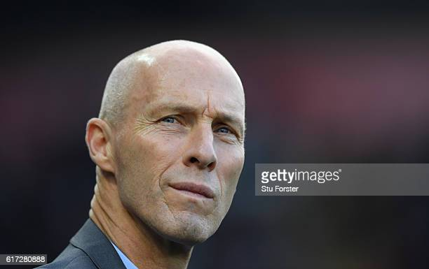 Swansea manager Bob Bradley looks on before the Premier League match between Swansea City and Watford at Liberty Stadium on October 22 2016 in...