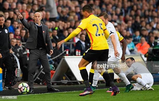 Swansea manager Bob Bradley reacts during the Premier League match between Swansea City and Watford at Liberty Stadium on October 22, 2016 in...