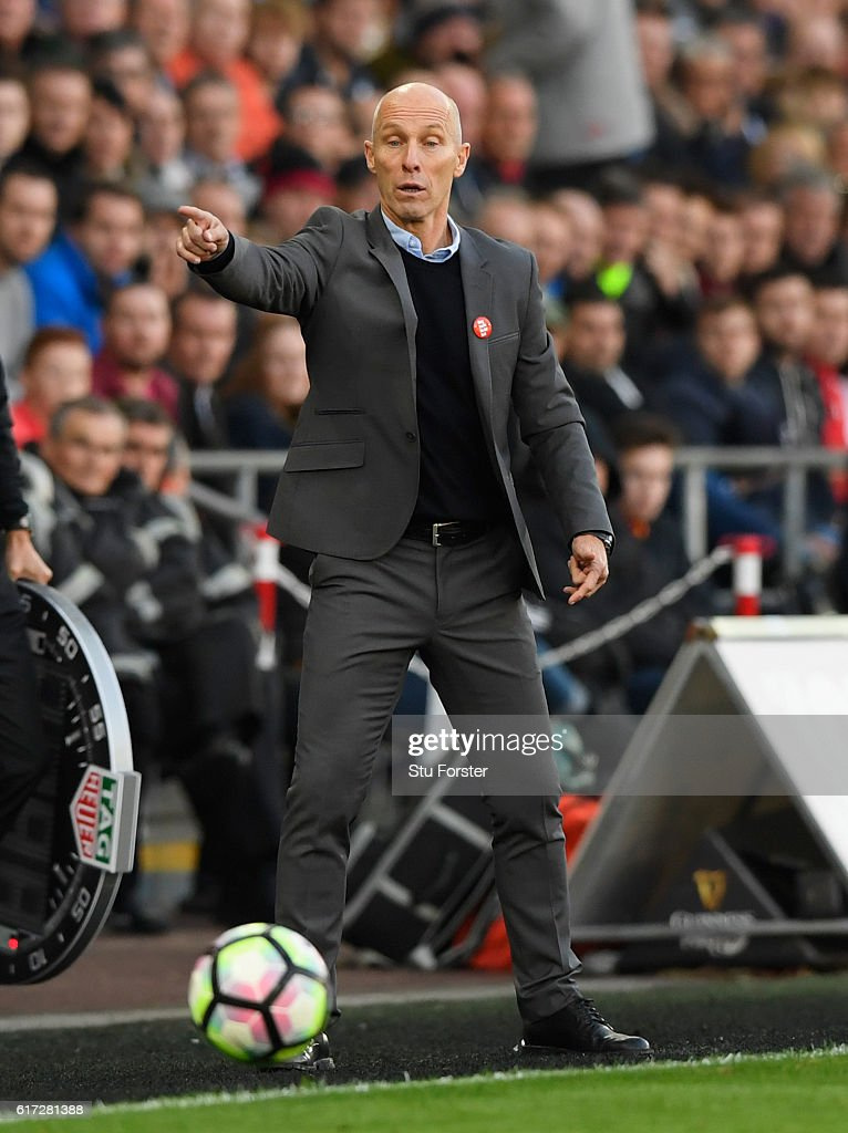 Swansea manager Bob Bradley reacts during the Premier League match between Swansea City and Watford at Liberty Stadium on October 22, 2016 in Swansea, Wales.