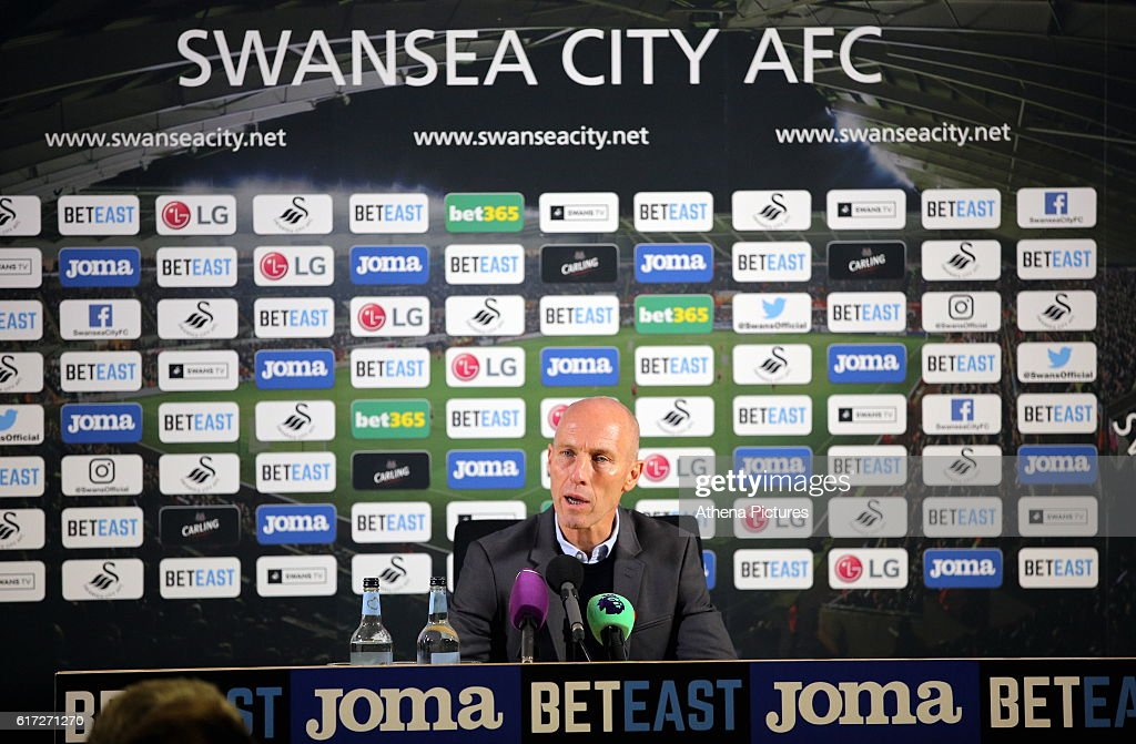 Swansea manager Bob Bradley takes his first home press conference after the Premier League match between Swansea City and Watford at The Liberty Stadium on October 22, 2016 in Swansea, Wales.