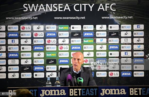 Swansea manager Bob Bradley takes his first home press conference after the Premier League match between Swansea City and Watford at The Liberty...