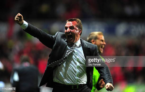 Swansea manager Brendan Rodgers celebrates the third goal during the npower Championship Play Off Semi Final Second Leg between Swansea City and...