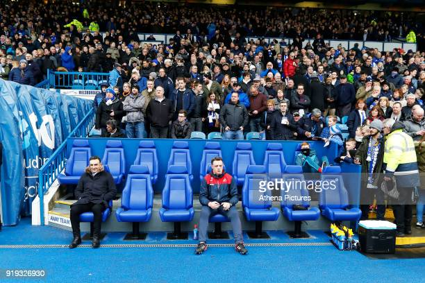 Swansea manager Carlos Carvalhal and goalkeeping coach Tony Roberts sit in the away dug out during The Emirates FA Cup Fifth Round match between...
