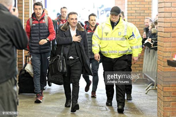 Swansea manager Carlos Carvalhal arrives prior to the game during The Emirates FA Cup Fifth Round match between Sheffield Wednesday and Swansea City...