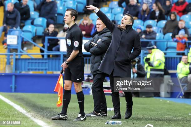 Swansea manager Carlos Carvalhal gives instructions from the touch line during The Emirates FA Cup Fifth Round match between Sheffield Wednesday and...