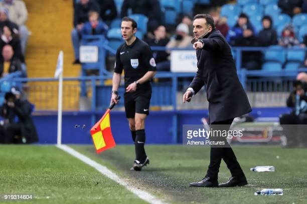 Swansea manager Carlos Carvalhal gives instructions to his players from the touch line during The Emirates FA Cup Fifth Round match between Sheffield...