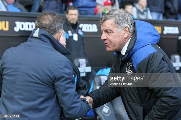 Swansea manager Carlos Carvalhal greets Everton manager Sam Allardyce during the Premier League match between Swansea City and Everton at The Liberty...