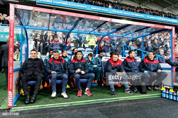 Swansea manager Carlos Carvalhal Joao Mario coach Bruno Lage coach goalkeeping coach Tony Roberts physiotherapist Ritson Lloyd and doctor Jez...