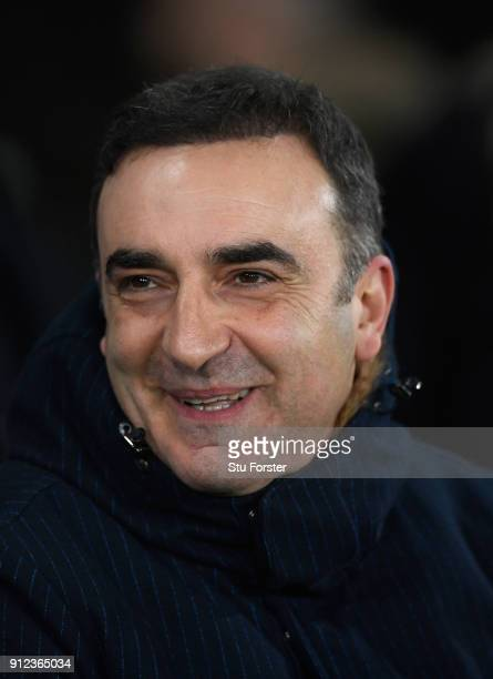 Swansea manager Carlos Carvalhal looks on before the Premier League match between Swansea City and Arsenal at Liberty Stadium on January 30 2018 in...
