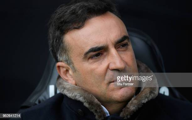 Swansea manager Carlos Carvalhal looks on before the Premier League match between Swansea City and Chelsea at Liberty Stadium on April 28 2018 in...