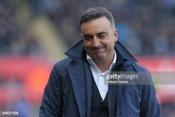 Swansea manager Carlos Carvalhal reacts on the touch line during the Premier League match between Swansea City and Everton at The Liberty Stadium on...