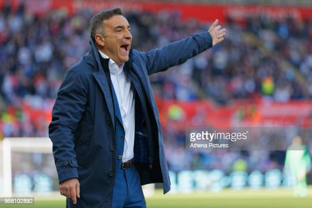 Swansea manager Carlos Carvalhal reacts on the touch line during the Premier League match between Swansea City and Stoke City at The Liberty Stadium...